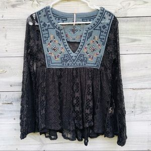 Free People Lace Casablanca Tunic embroidered top